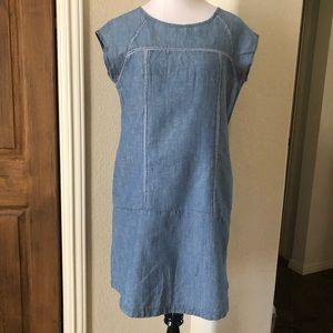 Kensie Jeans Dress Cotton Linen Blue Size Medium